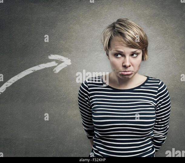 Concept of a guilty person, confused, unsure - Stock Image