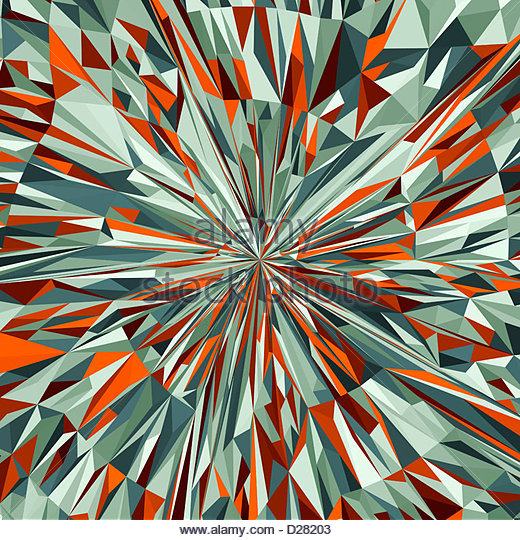 Vibrant angular red and green abstract pattern - Stock Image
