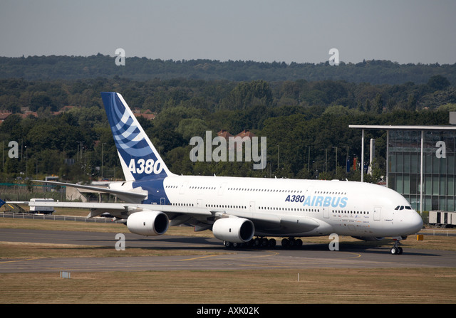 Airbus A380 superjumbo double deck aircraft taxiing for flying display at Farnborough International Airshow July - Stock Image