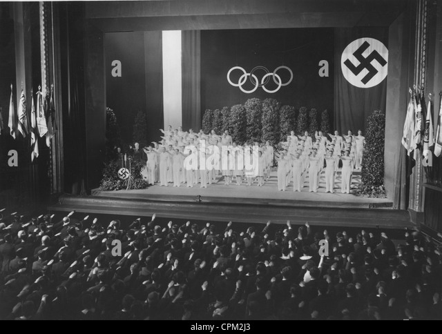 Commitment of the athletes to the Olympic Games, 1934 - Stock Image