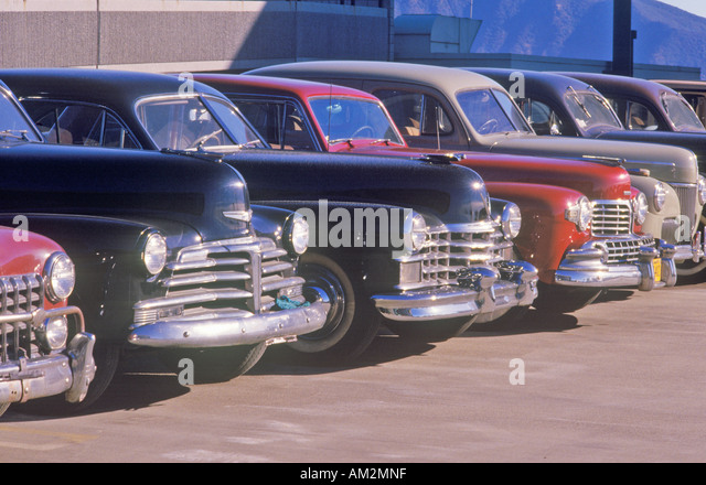A row of classic cars for the movies in Burbank California - Stock Image