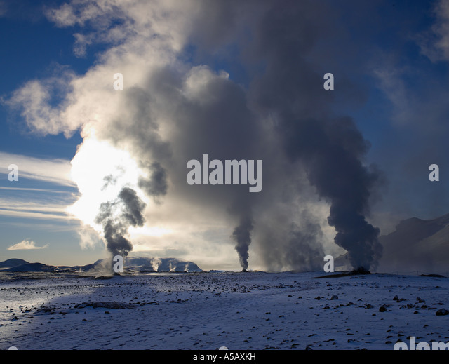 Bore holes, Geothermal steam, Namaskrad, Iceland - Stock Image