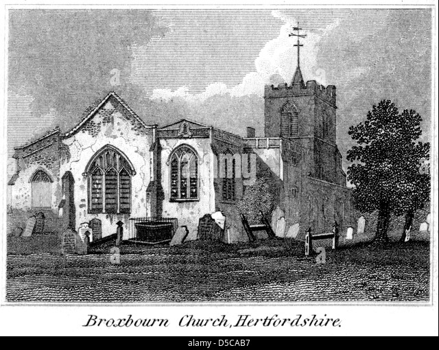 "An engraving entitled "" Broxbourn Church, Hertfordshire "" scanned at high resolution from a book published - Stock Image"