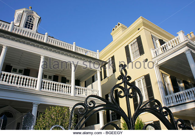 Charleston South Carolina National Historic Landmark Historic District preservation The Battery house mansion Charleston - Stock Image
