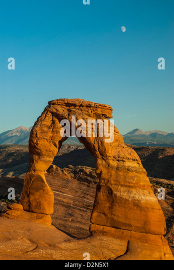 View of Delicate Arch, Arches Bows National Park, Utah, United States of America, North America - Stock Image