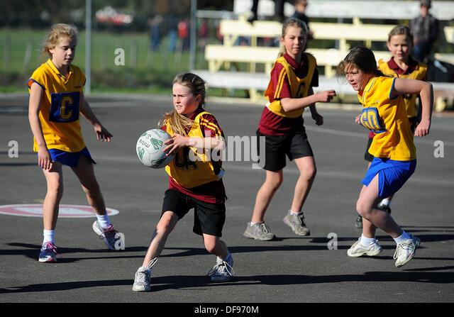 Motueka, Nelson, New Zealand. 10th Aug, 2013. Kids Netball. © Action Plus Sports/Alamy Live News - Stock Image