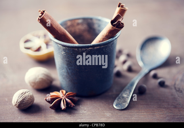 herbs and spices in a rustic setting - Stock-Bilder