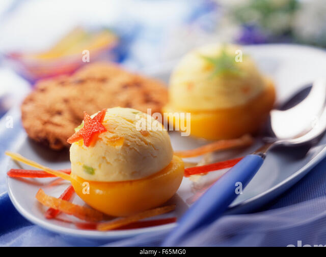 Apricot ice cream - Stock Image