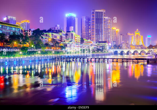 Guiyang, China cityscape on the river. - Stock-Bilder