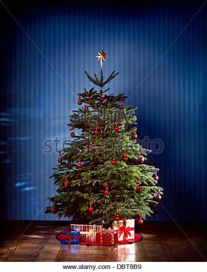 Christmas tree with presents - Stock Image