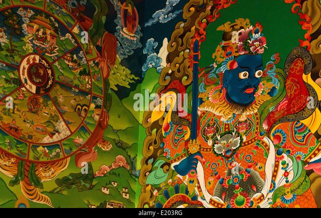 Kathmandu Nepal Colorful illustrations painted on the walls of the Drikung Kagyu Rinchenling monastery - Stock Image