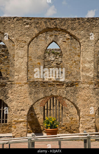 Back of San Jose Mission, San Antonio, Texas USA - Stock Image