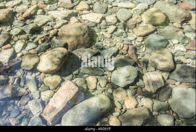 River Rocks Sit Below Clear Water in pacific northwest wilderness - Stock Image