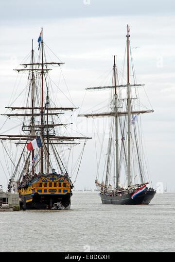 Armada 2013 - cruise of biggest sailing vessels in the world on Seine river from Rouen to Atlantic Ocean, here Etoile - Stock Image