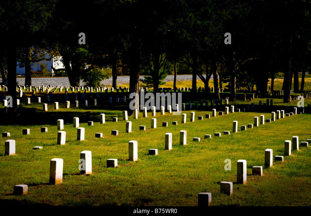 US National Cemetery at Stones River National Battlefield near Murfreesboro Tennessee - Stock Image