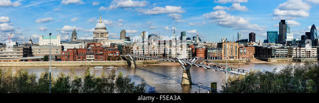 London skyline, St. Pauls and the River Thames from Tate Modern, London, England, United Kingdom, Europe - Stock Image