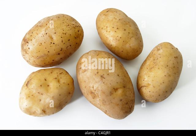 Potato (Solanum tuberosum Linda). Tubers, studio picture against a white background. - Stock Image