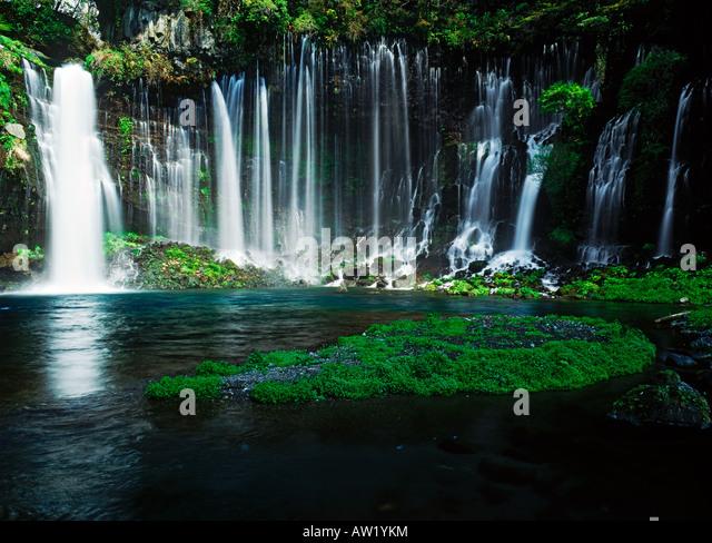 Shiraito waterfalls at the foot of Mount Fuji in Japan - Stock Image