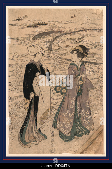 Jibukiami, Fishing net. [1799 or 1800], 1 print : woodcut, color ; 38.1 x 24.8 cm., Print shows a woman holding - Stock Image