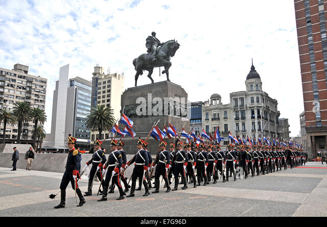 guards parade Montevideo Uruguay - Stock Image