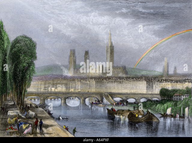 Rouen France on the River Seine early 1800s - Stock-Bilder