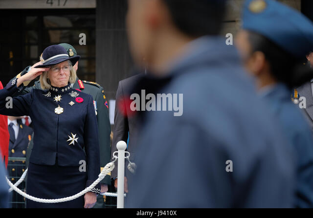 The Honourable Judith Guichon, OBC, Lieutenant Governor of British Columbia at the 2016 Remembrance Day ceremony - Stock Image