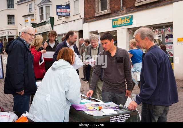 UK, Gloucestershire, Stroud, High Street, people campaigning against housing development in uplands and Slad Valley - Stock Image