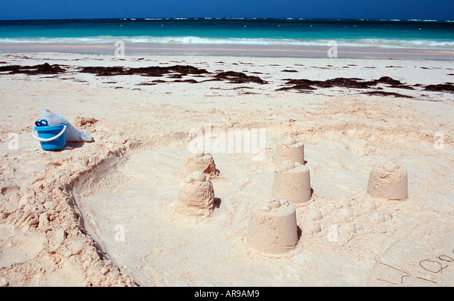 Sandcastle at beach Punta Cana Caribbean Dominican Republic - Stock Image
