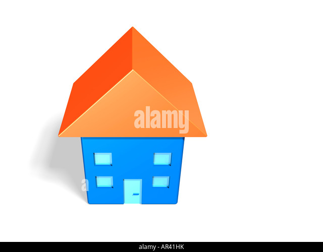 Model of a blue house with orange roof (3d illustration). - Stock Image