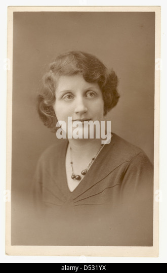 Studio portrait of woman, 1930's Burnley, Lancashire, U.K. - Stock Image