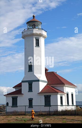 Point Wilson Light 1879, Port Townsend, WA, USA - Stock Image