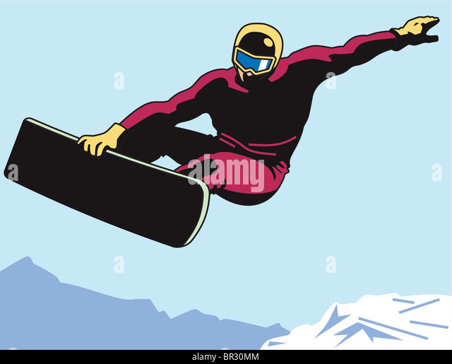 A man snowboarding - Stock Image