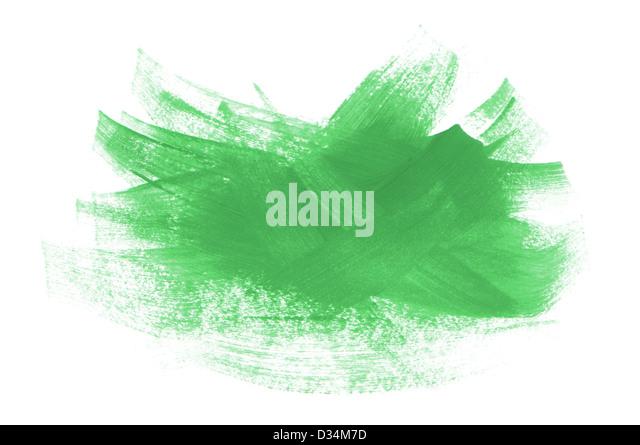 acrylic paint green strokes brush isolated on white background - Stock Image