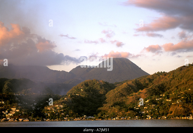 Dominica West Indies Caribbean Rugged Coastline - Stock Image