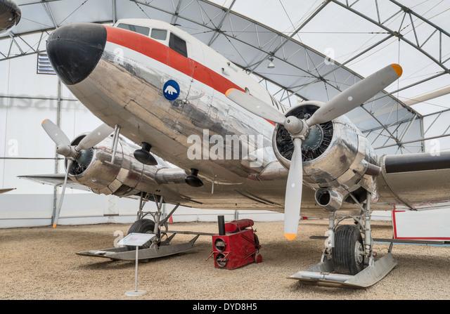 Douglas DC-3 Dakota airliner, Tent Hangar at Aero Space Museum, Calgary, Alberta, Canada - Stock Image