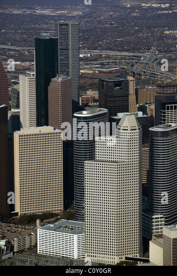 aerial view above office towers Houston Texas - Stock Image