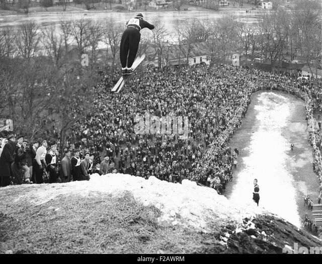 Petter Hugsted, 1948 Olympic ski jumping champion, takes off at Fox River Grove. Illinois, Jan. 16, 1949. He won - Stock Image