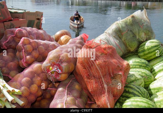 Curaçao Netherlands Antilles Dutch Willemstad Punda Sha Caprileskade Floating Market Waaigat fruit sack stack - Stock Image