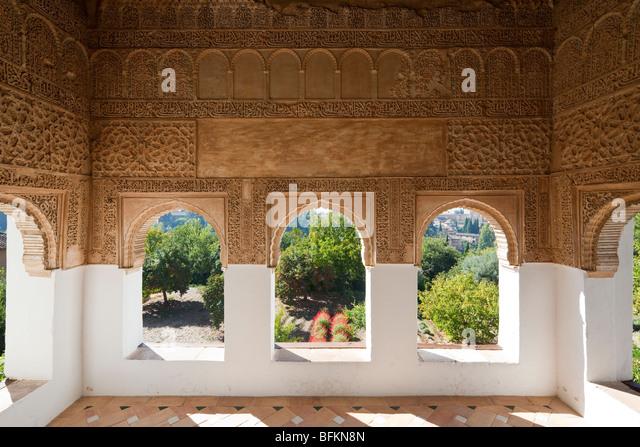 Spain granada alhambra detail stucco stock photos spain for Alhambra decoration
