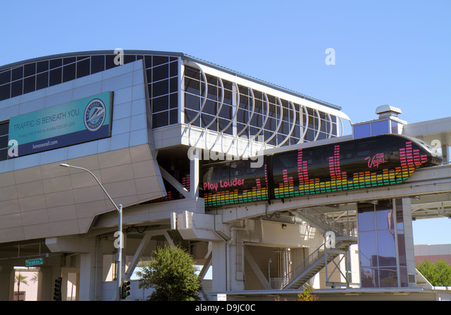 Nevada Las Vegas Monorail Convention Center Station centre departing - Stock Image