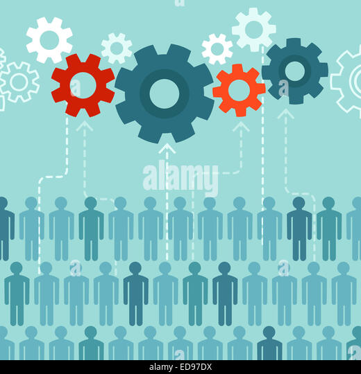 Crowdsourcing concept in flat style - abstract group of people participating in generating content - Stock-Bilder