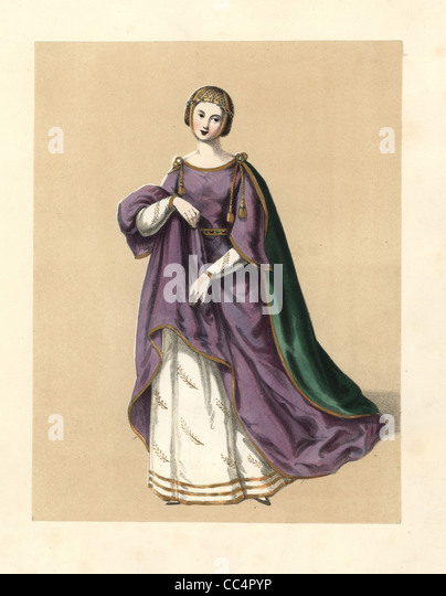 Dress of the reign of King Edward I, Longshanks. - Stock Image