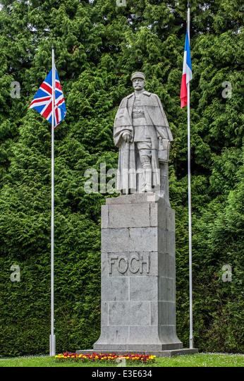 Statue of general Ferdinand Foch at the Glade of the Armistice / Clairière de l'Armistice, WWI memorial - Stock Image