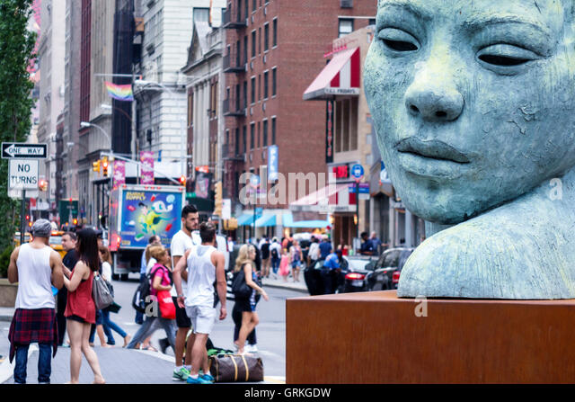 Manhattan New York City NYC NY Midtown Union Square Park public park pedestrian plaza busy street sculpture bronze - Stock Image
