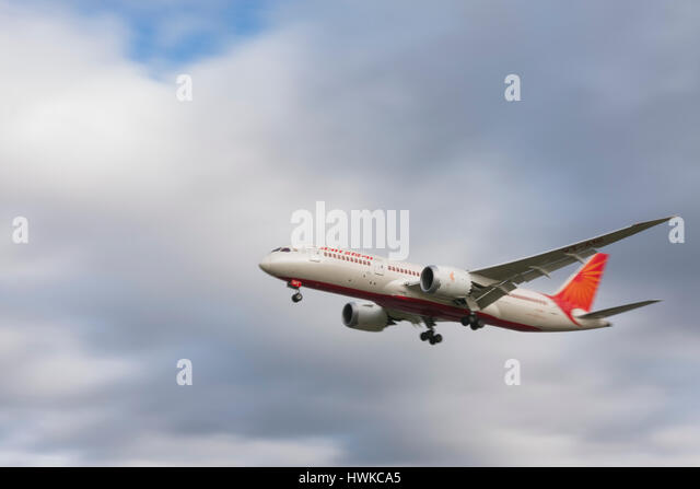 Air India Boeing 787-8 Dreamliner landing at London Heathrow Airport, UK - Stock Image