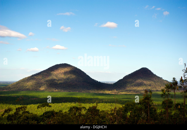 The Glasshouse Mountains in Queensland in Australia. - Stock Image