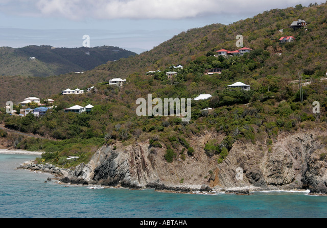 BVI Tortola Caribbean Sea cliff houses hillside cliff - Stock Image
