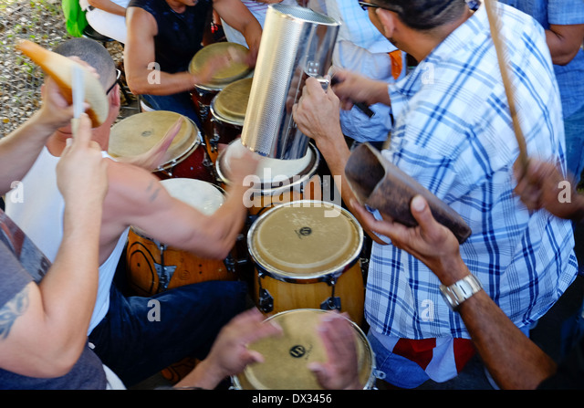 MIAMI - MARCH 9, 2014: Band playing music in the streets of calle 8 during the  37th Calle Ocho festival, an annual - Stock Image