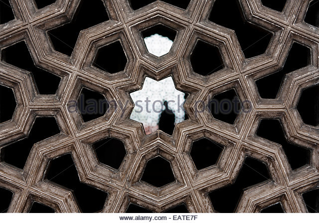 A screened window at the tomb of the Mughal Emperor Humayun. - Stock Image