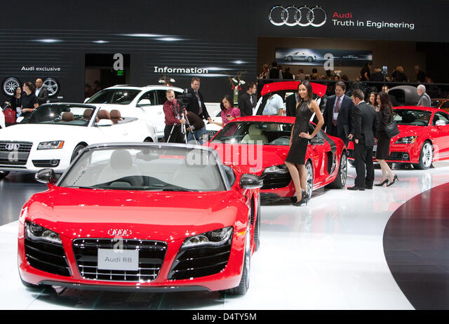 Cars of Audi stand at the LA  Auto Show in Los Angeles, USA, 03 December 2009. Alternative fuel vehicles and hybrid - Stock Image